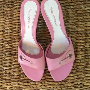 Enzo Angiolini Open Toe Mules w/ heel 8.5M Pink